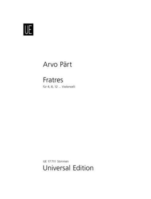 Part Fratres 4 8 Or 12vc Parts Paert, Arvo Set Of Parts For 4, 8 Or 12 Celli 9
